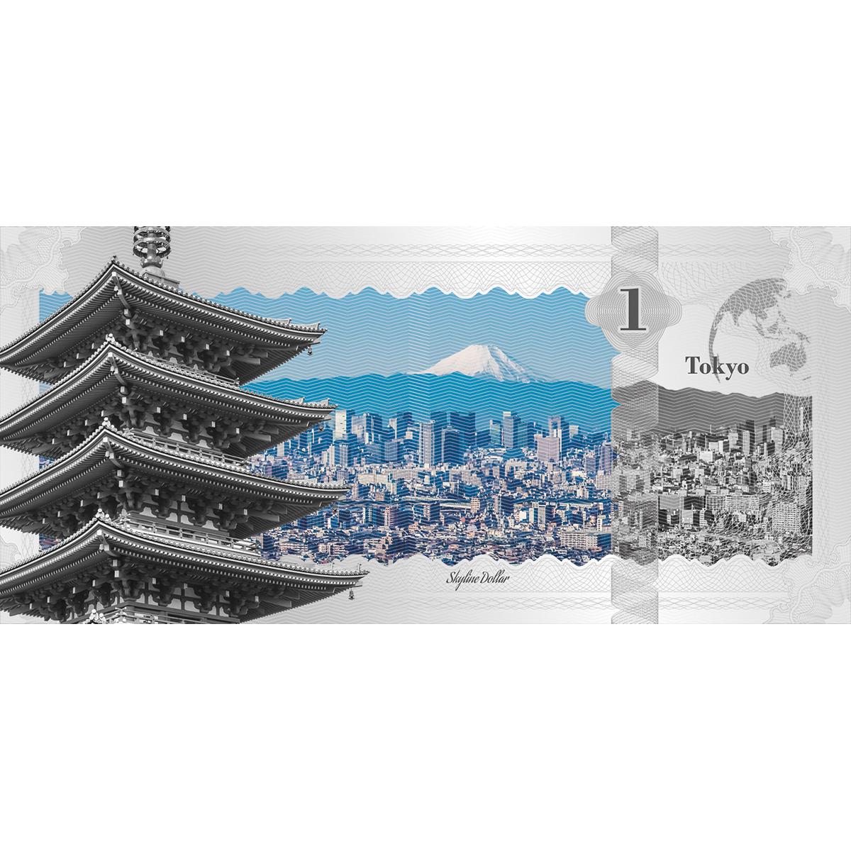 Silver foil Skyline Dollar legal tender note Tokyo
