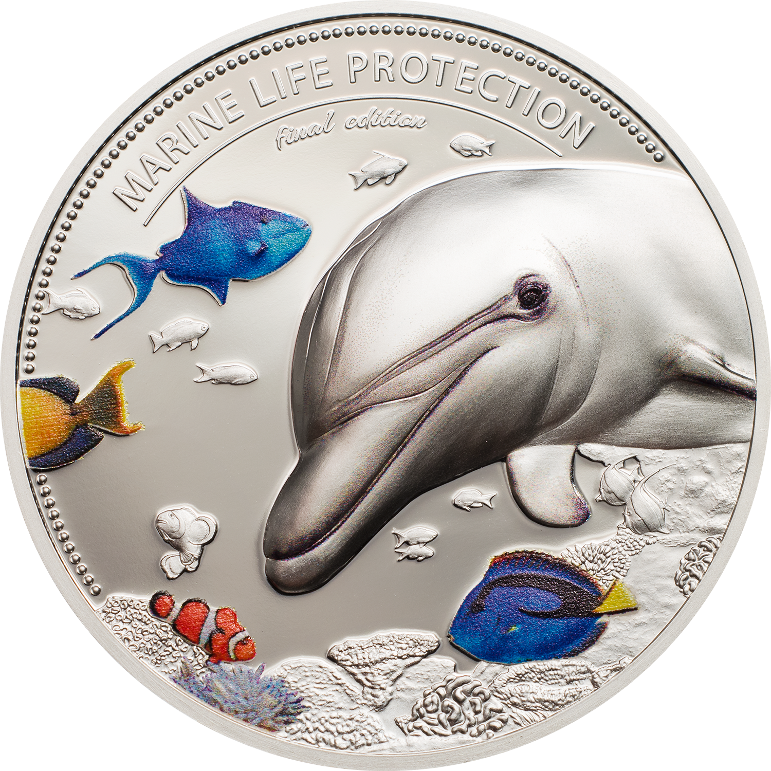 Four ounce piedfort silver coin set Marine Life Protection Dolphin and Sea Horse for Palau