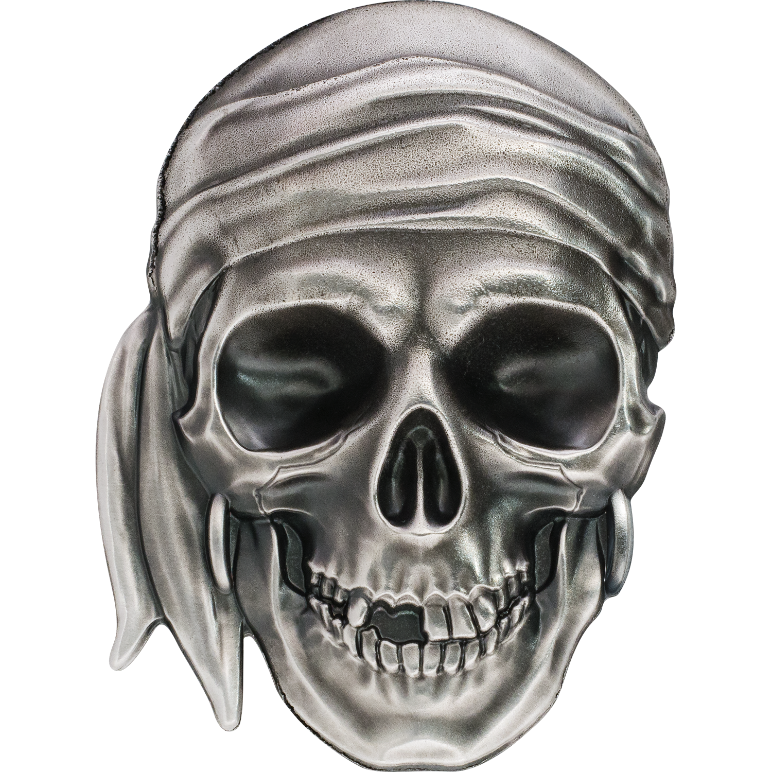 Pirate Skull silver coin with smartminting relief
