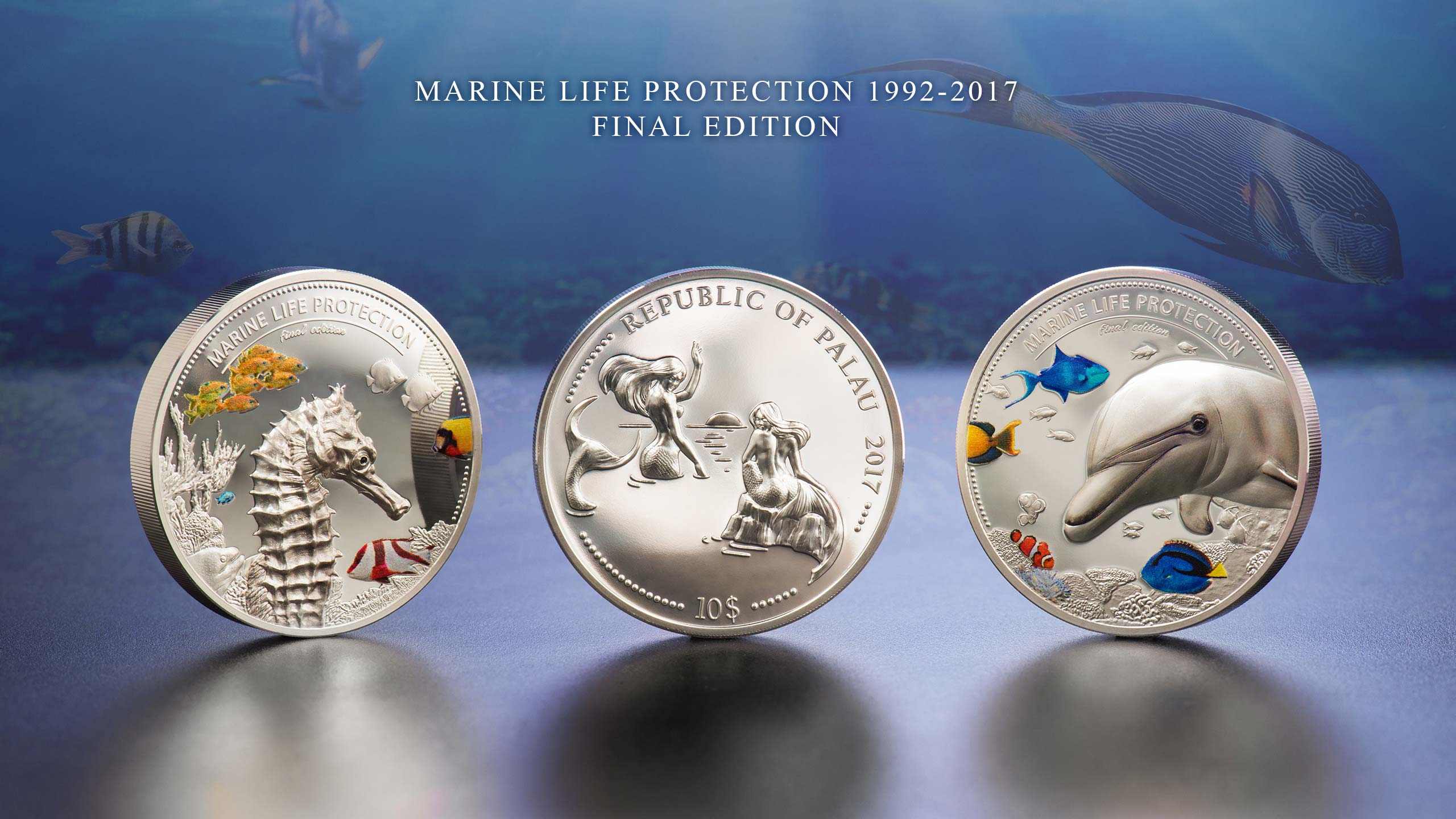 Dolphin and Sea Horse silver coins Marine Life Protection