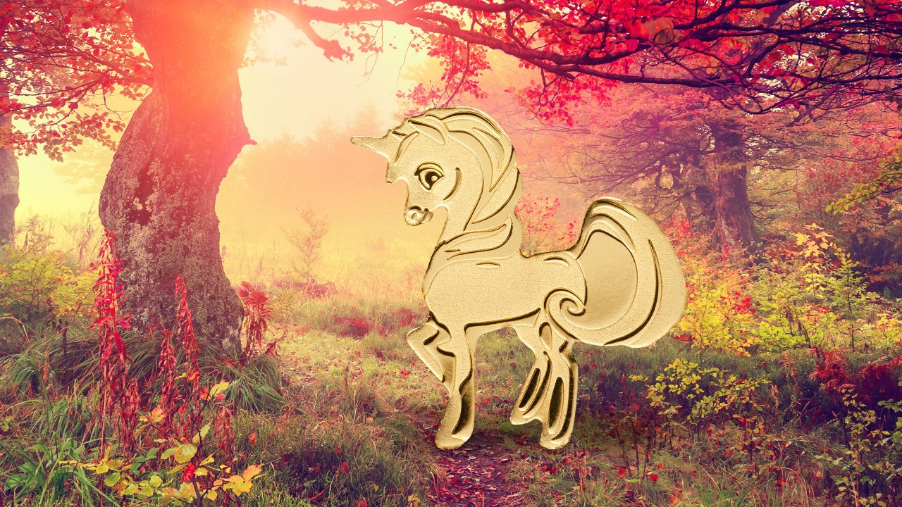 Sweetest unicorn, special shape gold coin