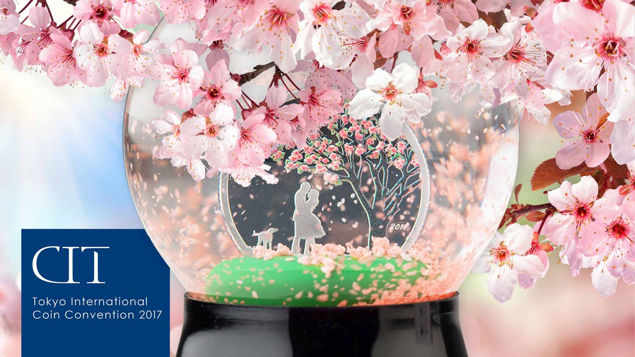 coin invest trust, cit, at toyko international coin convention with cherry blossom globe coin
