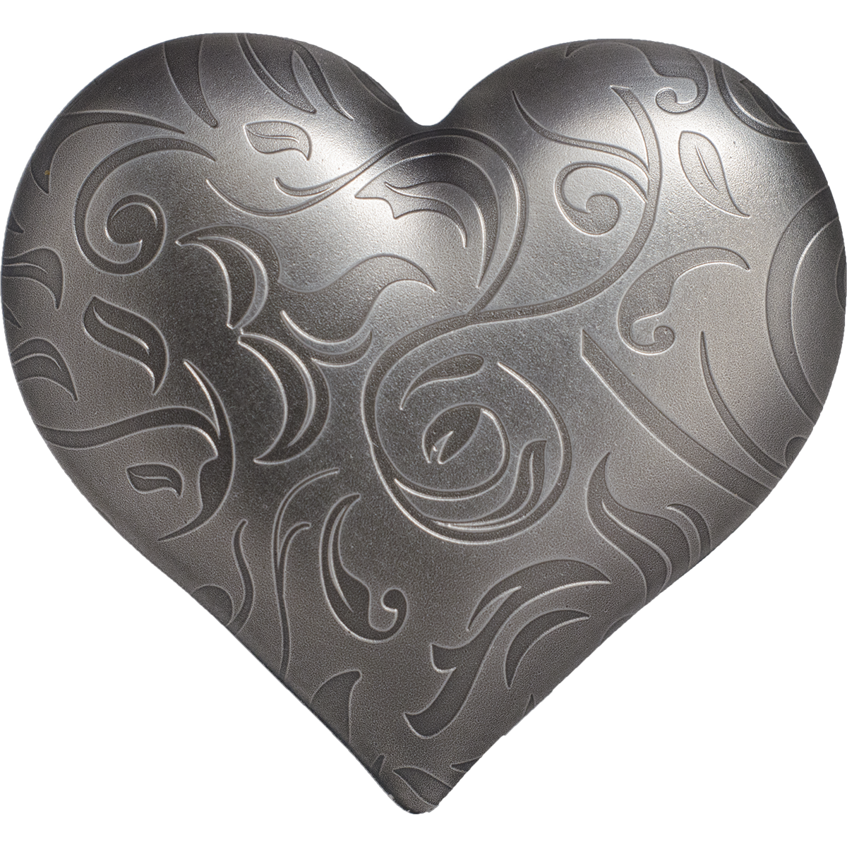 silver heart one ounce shape coin with smartminting by CIT Coin Invest AG and B H Mayer mint