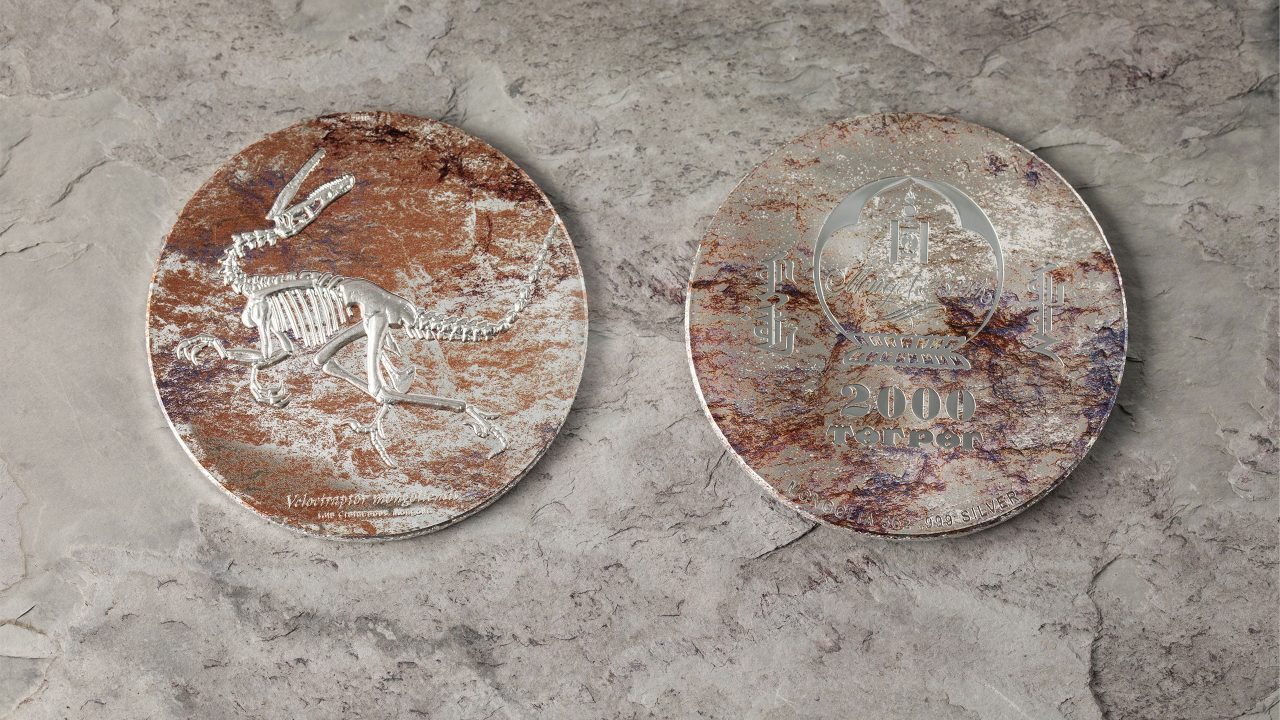 Velociraptor mongoliensis fossil silver coin with smartminting high relief by cit coin invest ag and b h mayer mint for mongolia