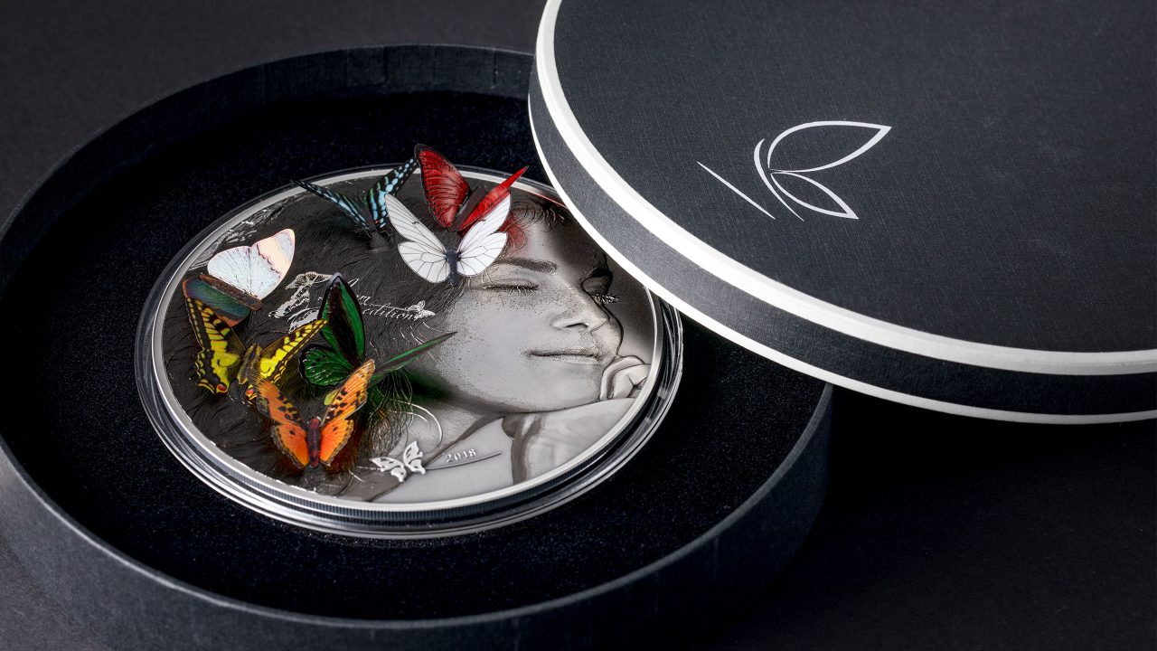 Exotic Butterflies dream edition 5 oz silver coin with 7 3d butterfly inserts and smartminting high relief by cit coin invest ag