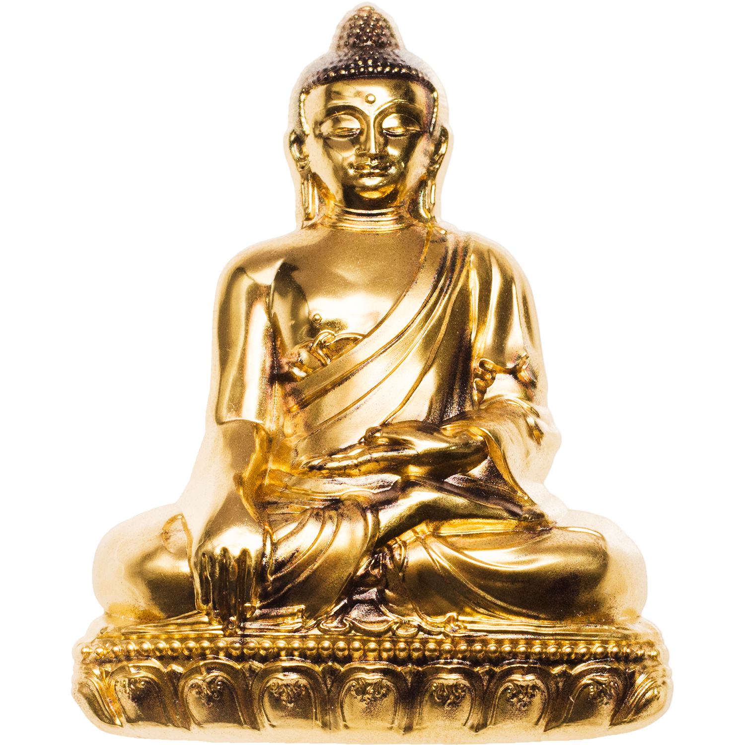 Shakyamuni Buddha shape silver coin gold plated by CIT Coin Invest Ag and B H Mayer mint with smartminting ultra high relief for Mongolia