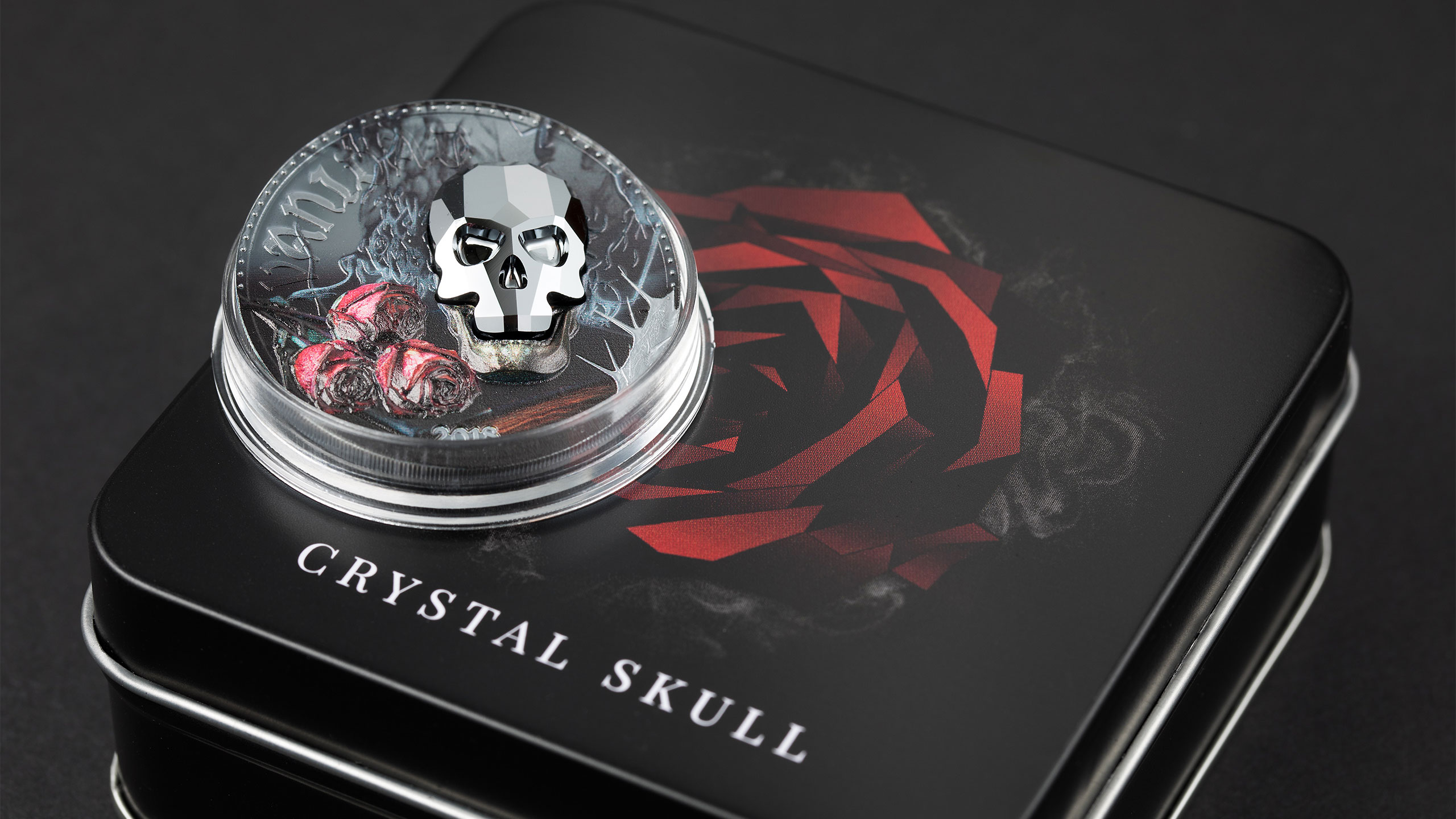 Crystal Skull silver coin with Swarovski element and smartminting high relief by cit coin invest ag and b h mayer mint called vanity or vanidad