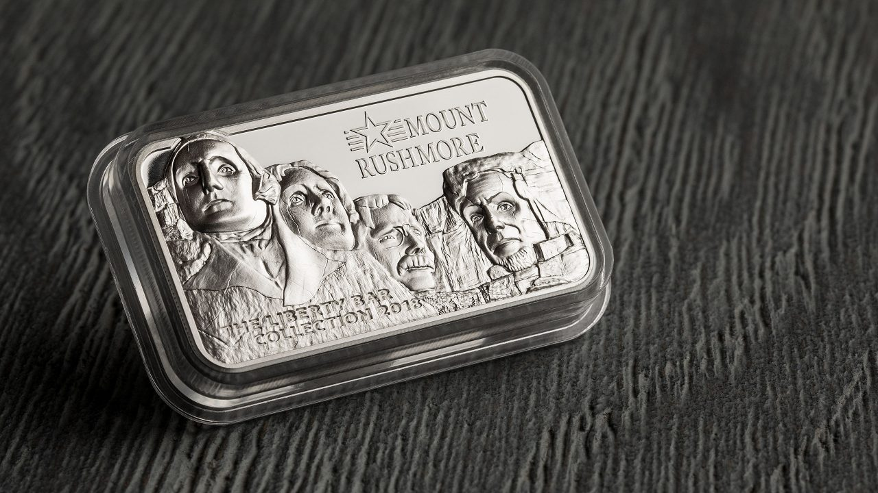 Smartminting silver coin bar ingot by CIT coin invest ag and b h mayer mint showing mount rushmore of the liberty bar collection