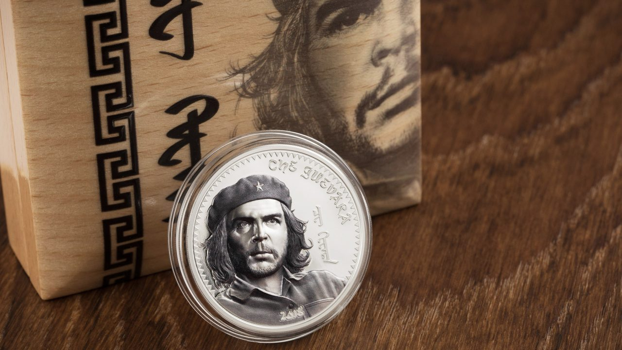Che Guevara silver coin with smartminting for Mongolia by cit coin invest ag following fidel castro and chinggis khaan